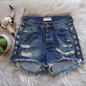 One Teaspoon | Blue Buoy Lace-Up Hawks Shorts